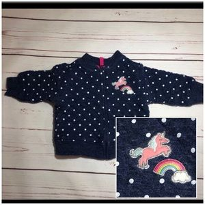 Carter's Navy Blue & White Quilted Jacket Unicorn